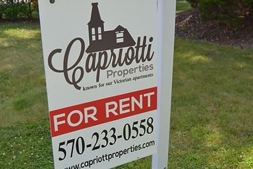 yard sign Capriotti FOR RENT 570-233-0558