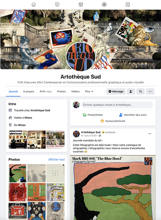 Page d'accueil Artothèque Sud sur Facebook