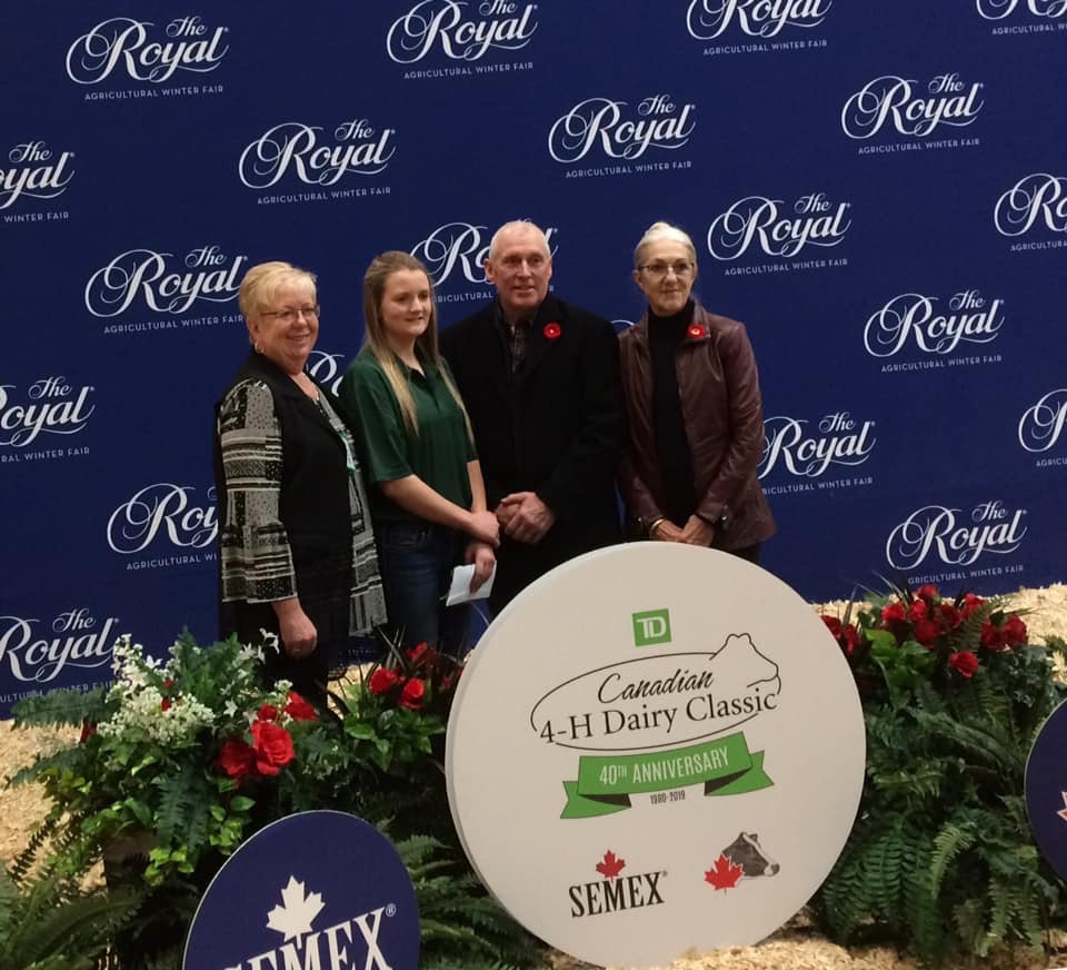 Ashley Fisher is honoured with the Justin Parish Memorial Award for showing dedication to the dairy industry and competing for the first time at the Royal.