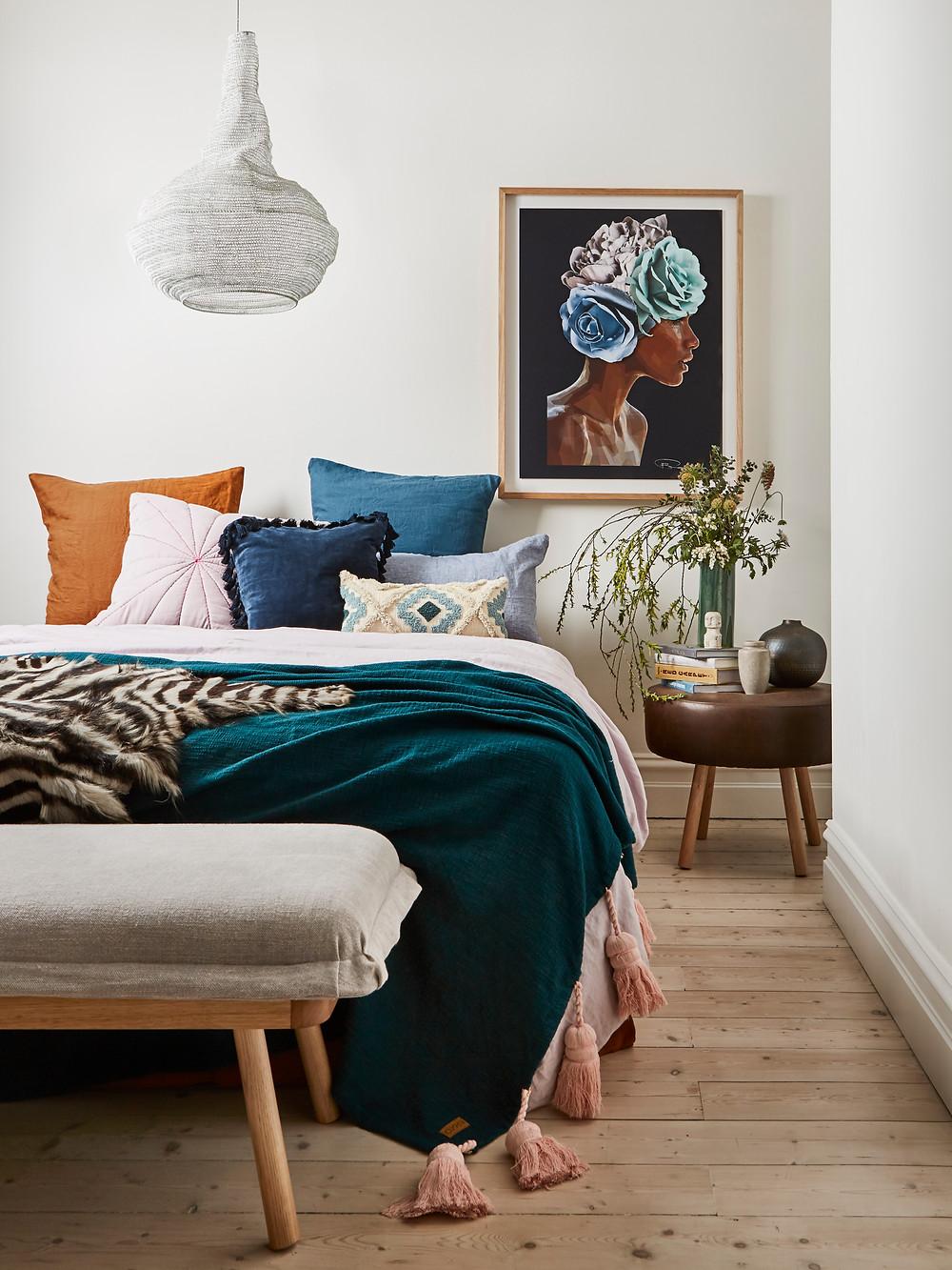 layered bedding bedroom tassel throw