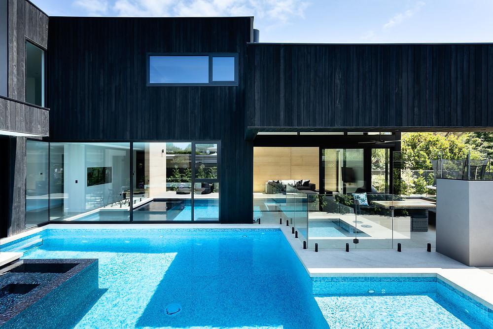 blue swimming pool and alfresco