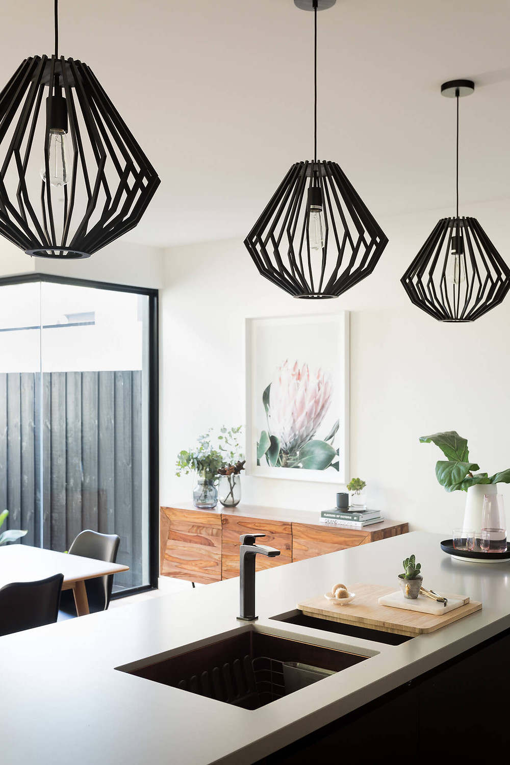 kitchen bench with pendant lights
