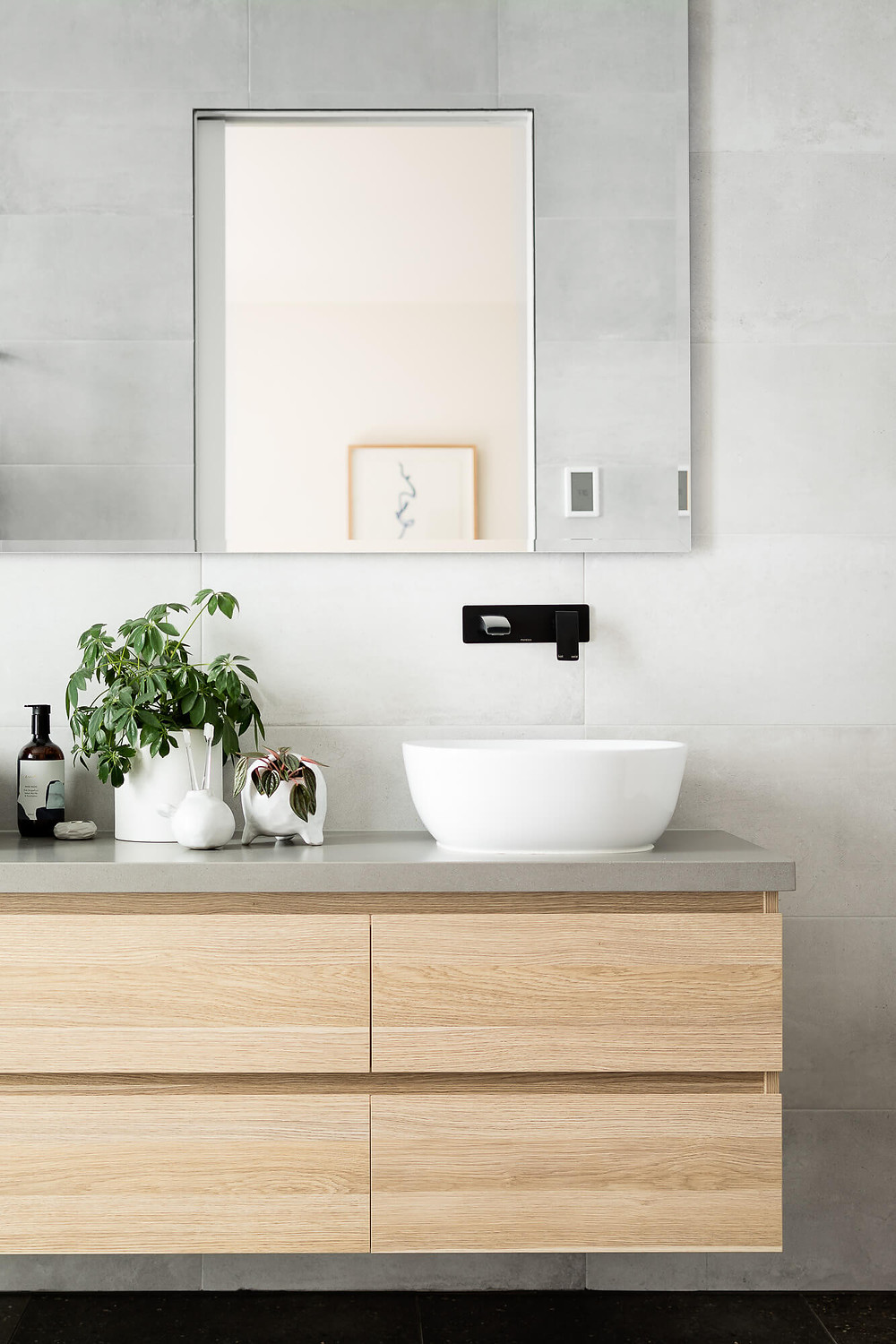 main bathroom with above counter basins and wall taps