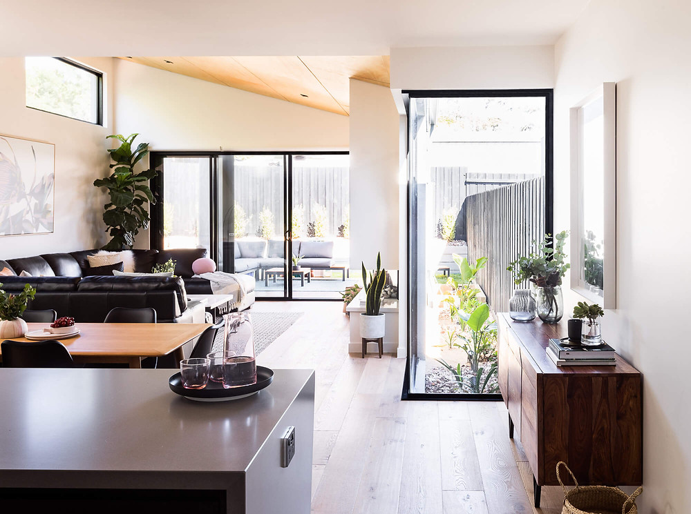 open plan kitchen living dining meals area