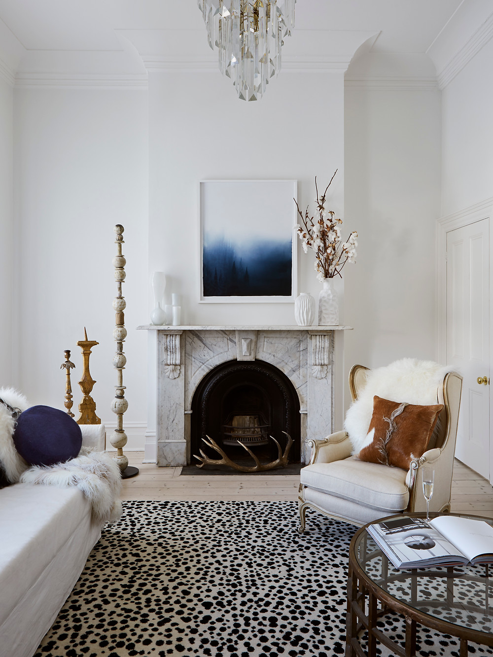 scandi living room with faux fur