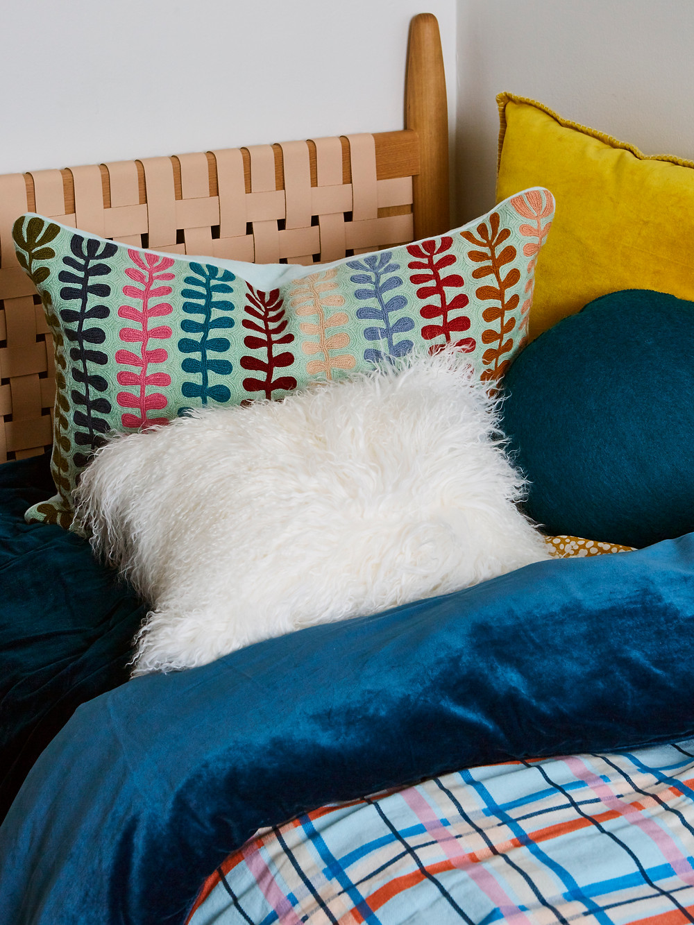 coloured and textured cushions