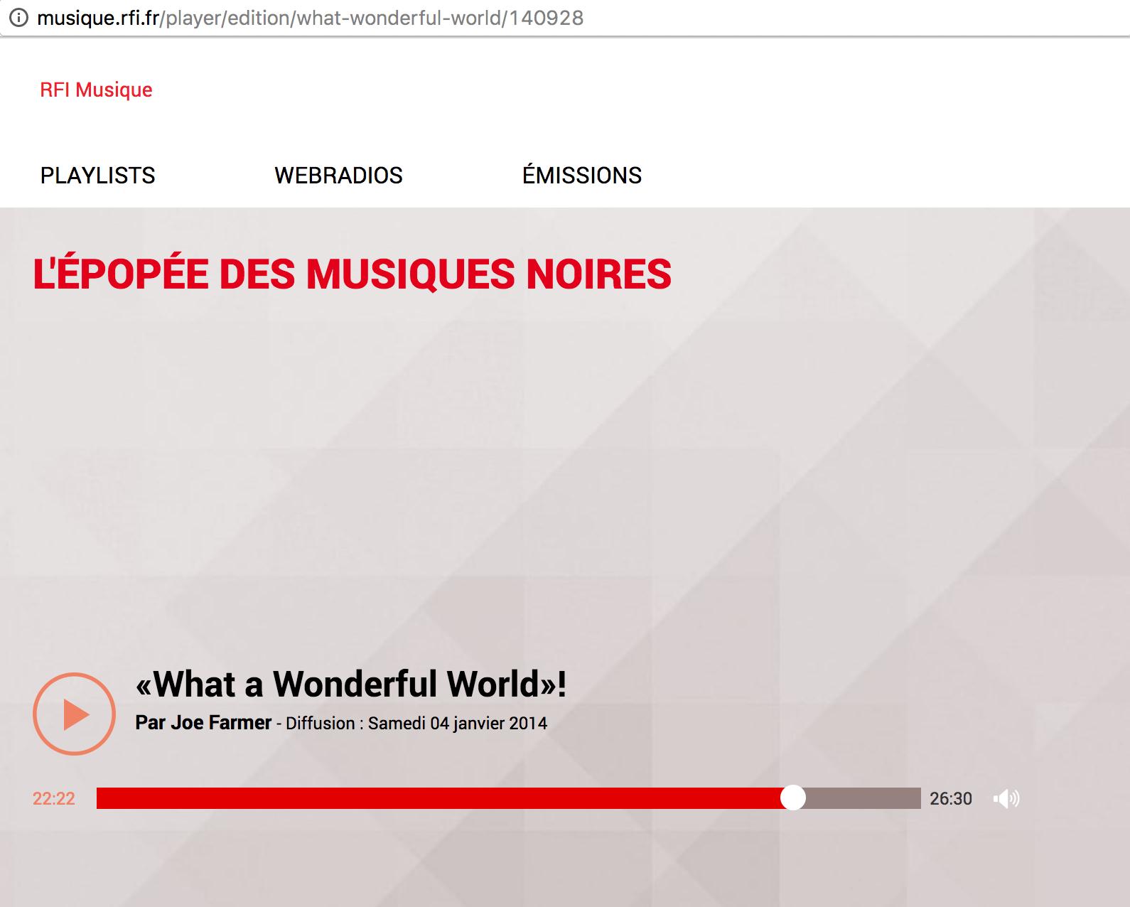 RFI - EPOPEES DES MUSIQUES NOIRES