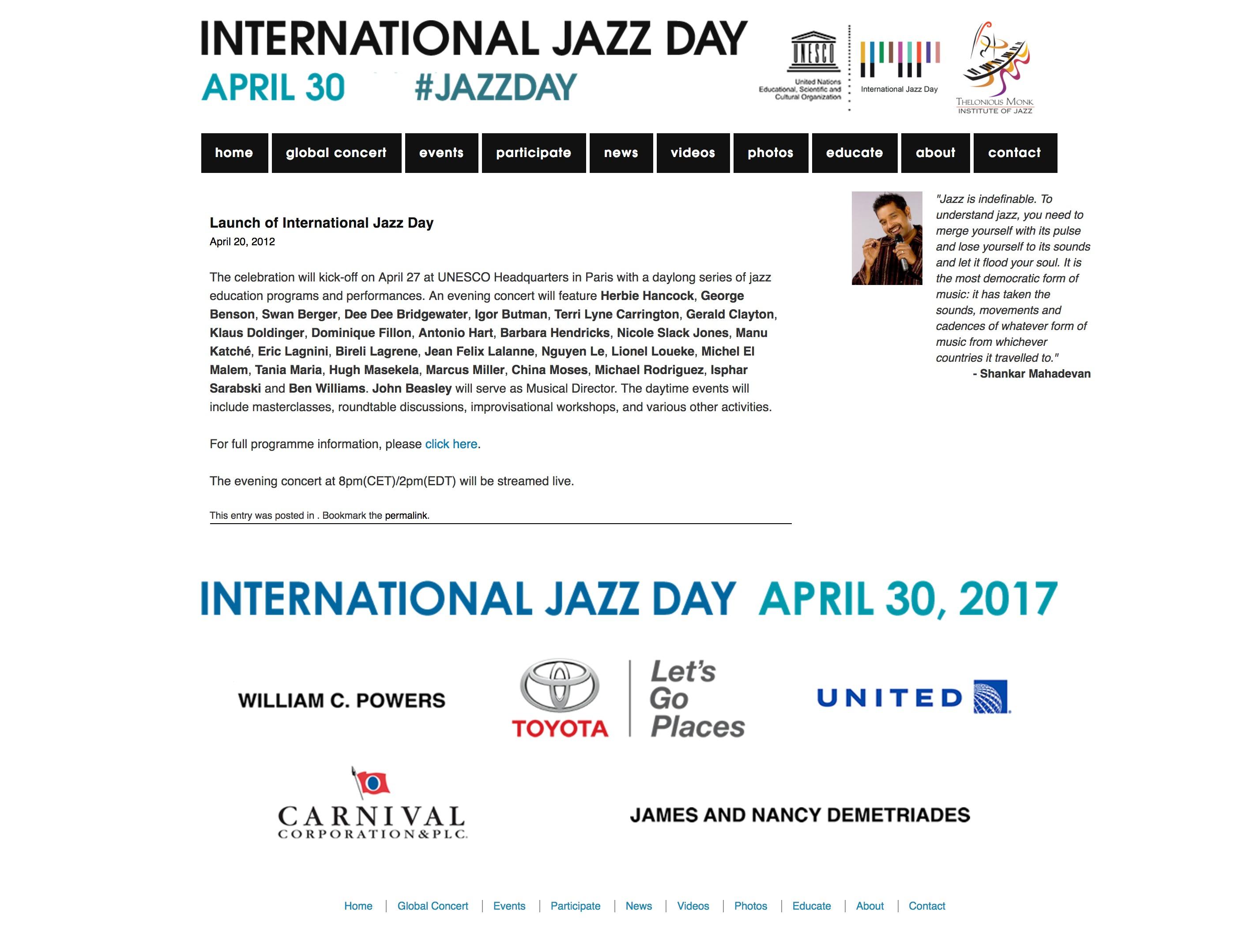 INTERNATIONAL JAZZ DAY - UNESCO