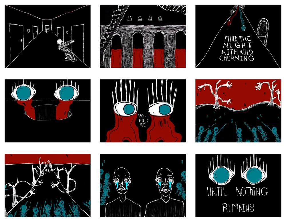 Stills from the second half of the 'It Was Still Dark' animation