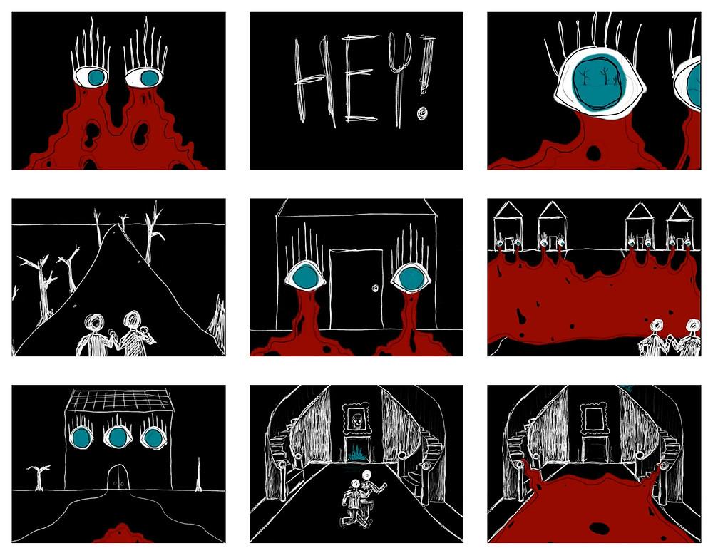 Stills from the final 'It Was Still Dark' animation, tiger mimic