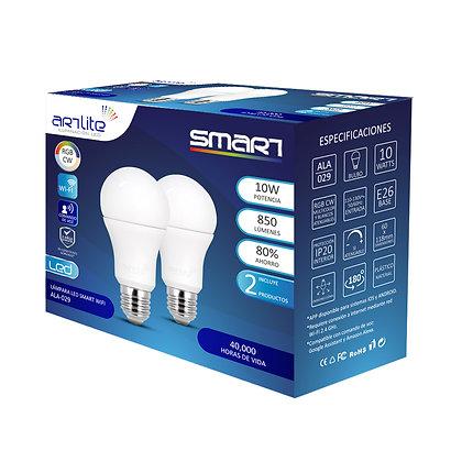 PACK 2 FOCO LED SMART E26 10W WI-FI RGB CW MULTICOLOR