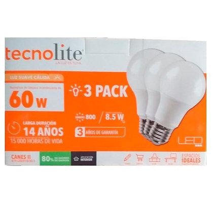 PACK DE TRES FOCOS LED 8.5W CÁLIDO
