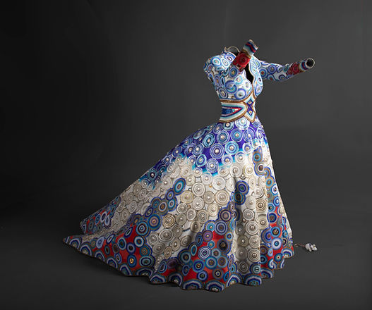 """Sculpture in the shape of a dress with intricate beading called """"The Gown Affinity"""""""