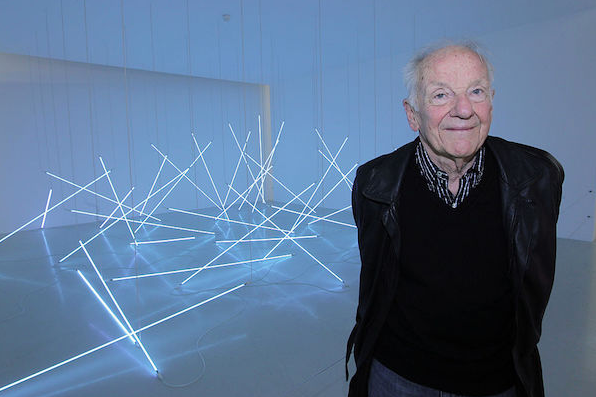 François Morellet poses in front of light installations on February 28, 2011, at his retrospective at the Centre Pompidou in Paris. Courtesy of Pierre Verdy/AFP/Getty Images.