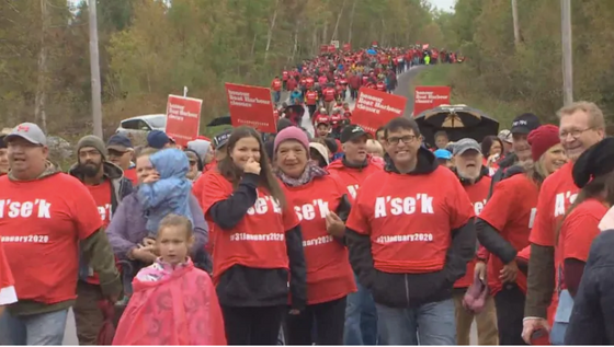 Hundreds march in Pictou Landing in support of Northern Pulp deadline