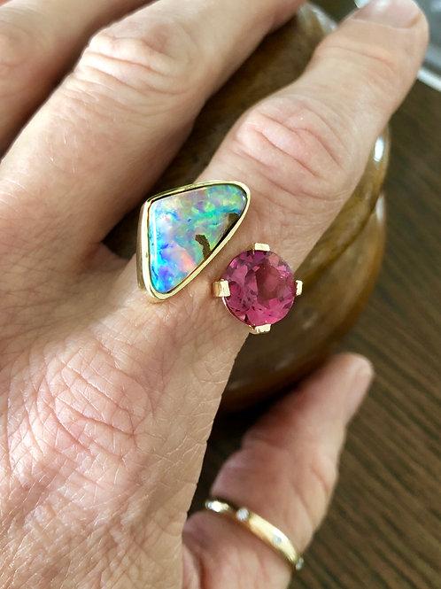 Boulder Opal and Pink Tourmaline Wrap