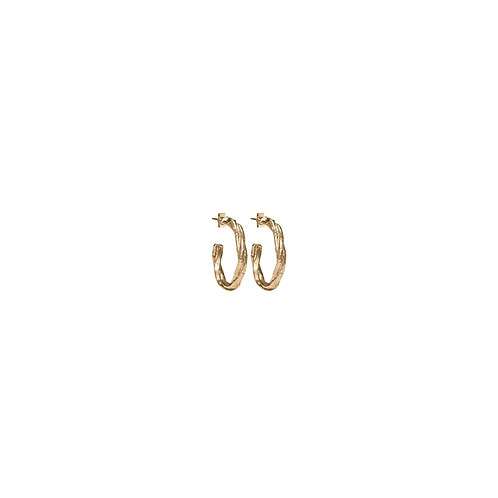 Solid Gold Bamboo Hoops