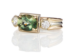 Green Labradorite with Diamonds