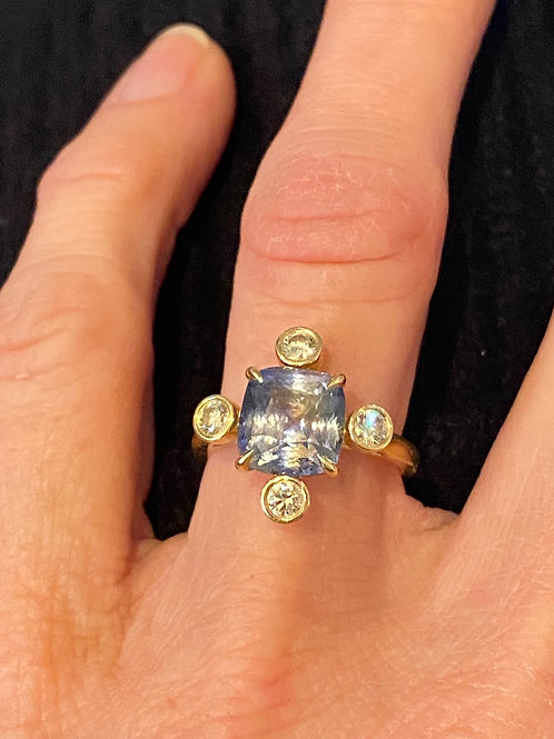 Multi-Color Sapphire in Blue and Yellow with Yellow Diamonds