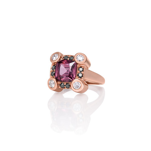 Deco-Inspired Spinel with Diamonds