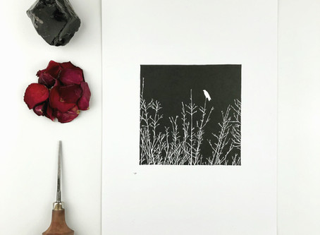 the crow - a gothic lino printing journey from start to finish