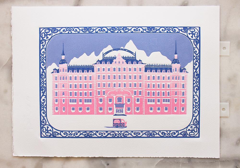 wes anderson grand budapest hotel linocut print carolina linoleum