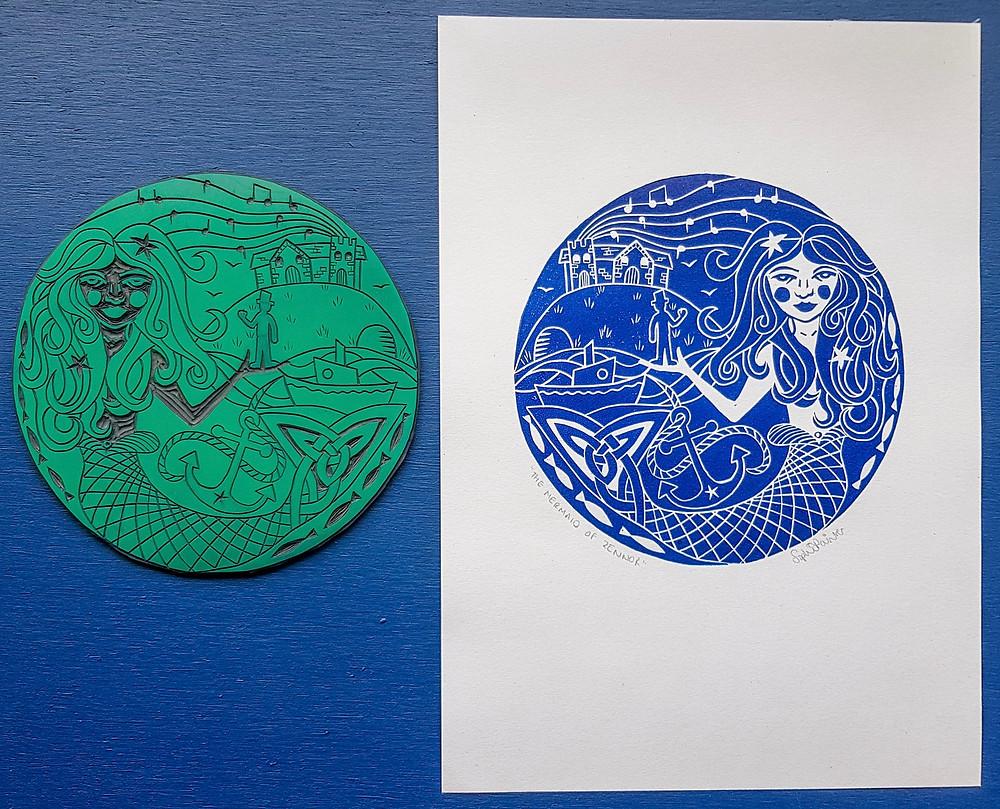 mermaid linocut print sophie painter