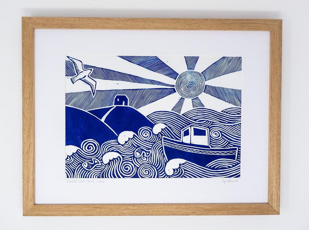 sophie painter linocut print coastal inspired