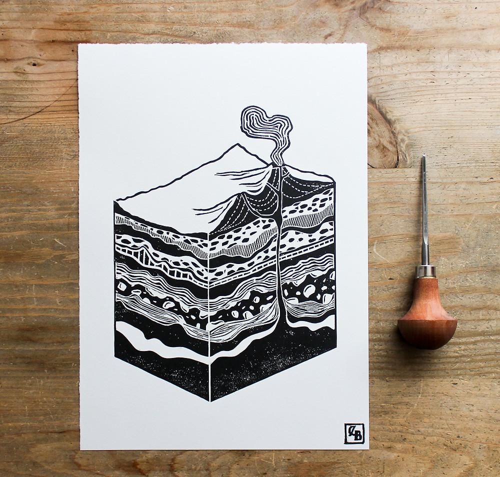geological art print layers of earth caroline linoleum linocut print
