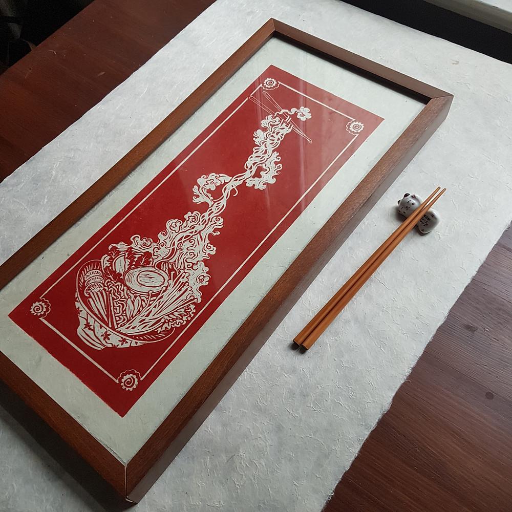 honeythief prints linocut printmaker ramen noodles
