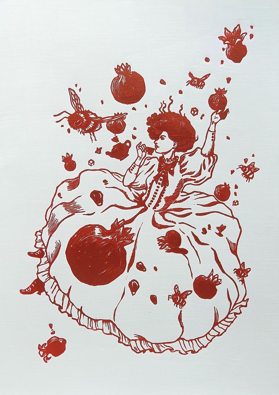 pomegranate linocut print red honeythief prints