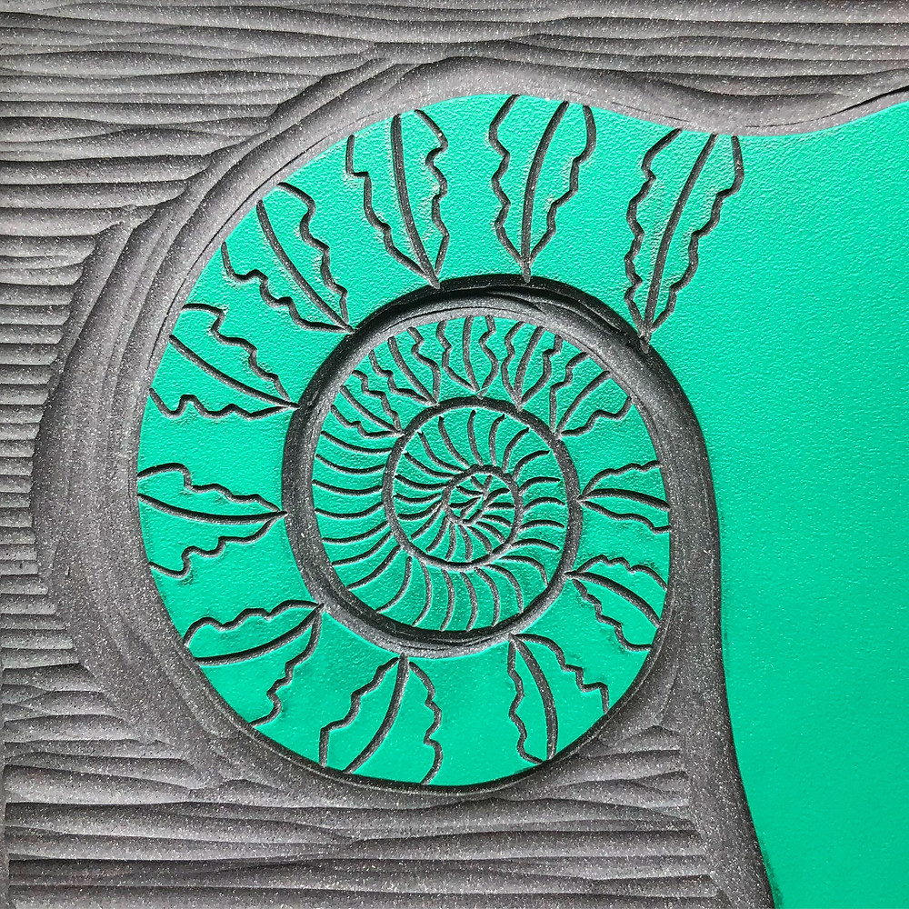 an example of a carved japanese vinyl block as a fern design