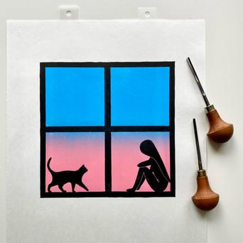 You and Me, linocut print