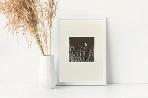 The Crow, linocut print