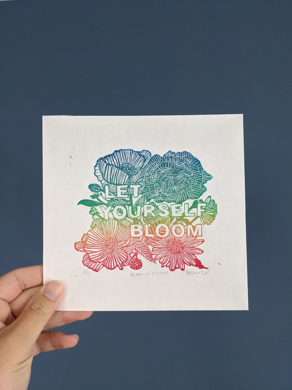 shelly brown illustration let yourself bloom inspiration quote linocut print