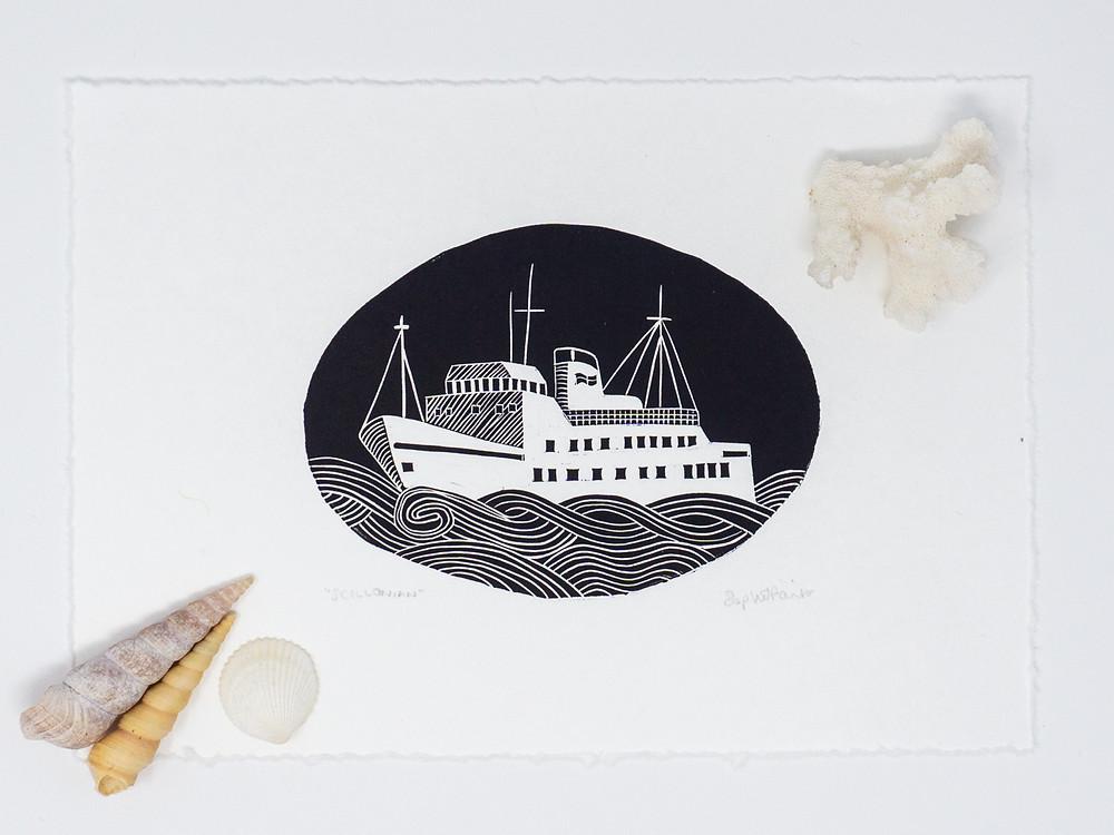linocut print sophie painter ship ocean sea shells