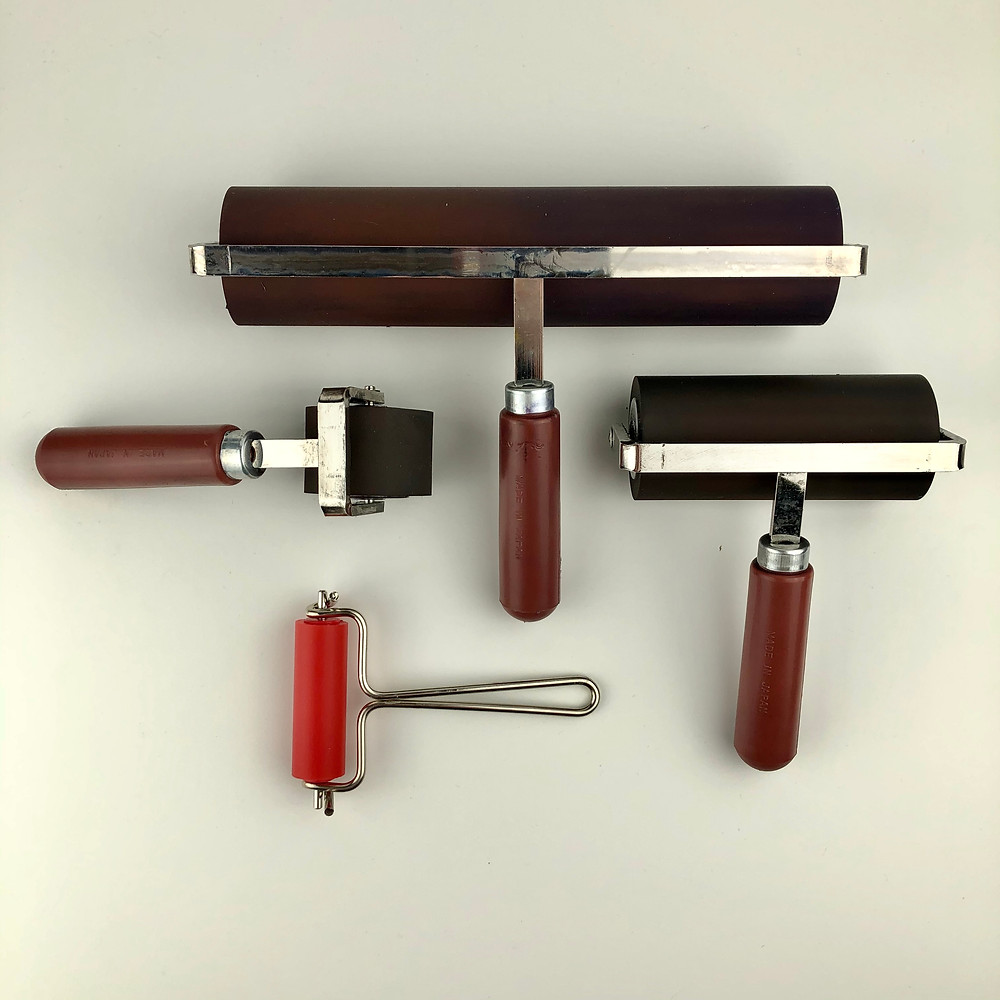 a range of japanese soft rubber rollers from handprinted used for lino printing