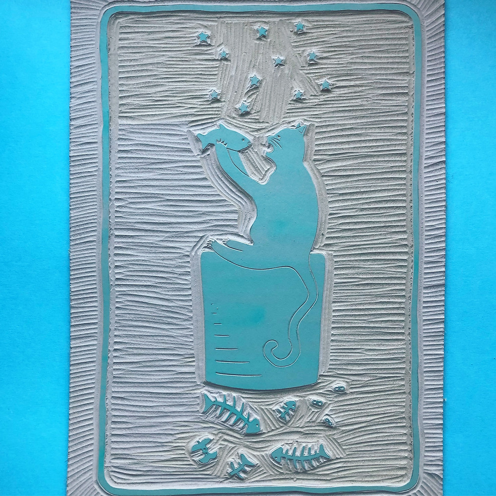 a lino block carved into a print called the alley cats based on the board game