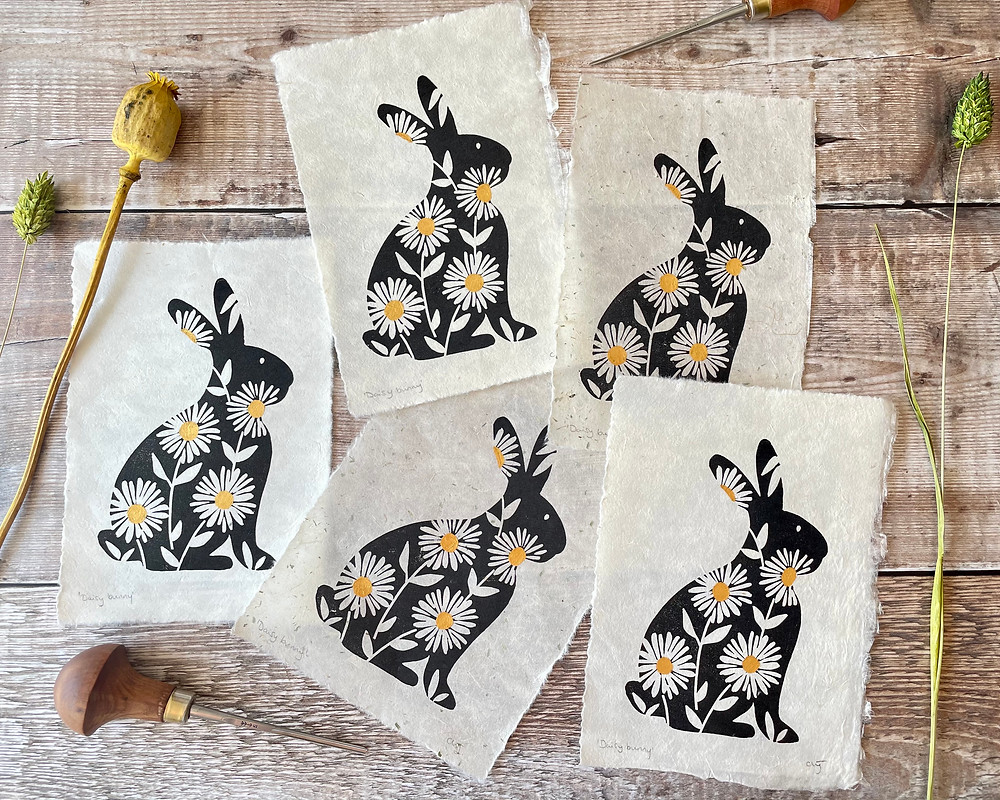 Cat from Linomouse prints linocut printmaker