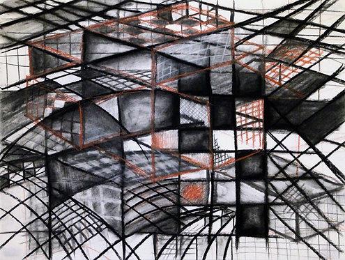 Hypercube #2  37x25 framed