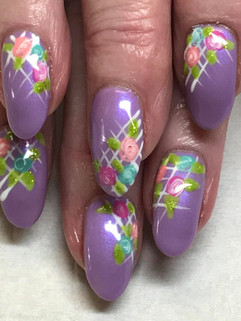 Natural nails with Gelish & Hand Painted flowers