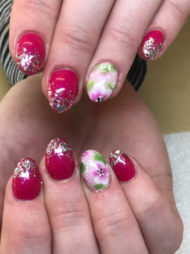 Acrylic Overlays with Gel Polish & Hand PAinted flowers
