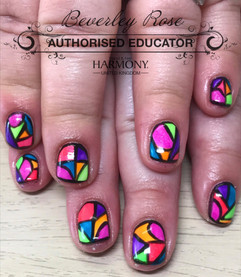 Stanined Glass Neon Nails