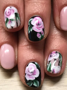 Rose painted nails