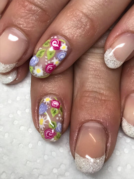 Natural Nails with Bling French Manicure