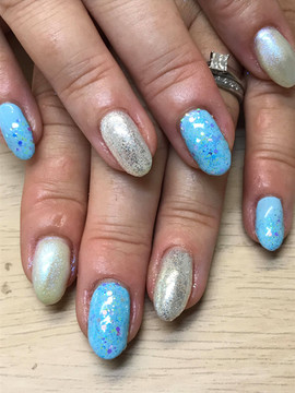 Acrylic with Gelish and glitter