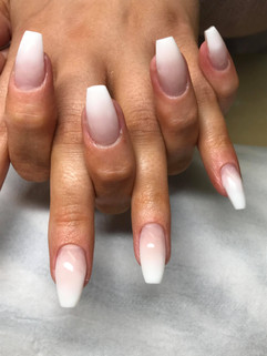 Baby Boomer Polygel nails Coffin shaped