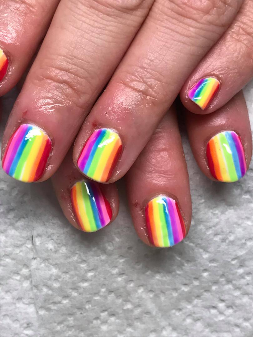 Rainbow striped gel polish