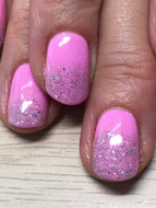 Pink Gelish with a glitter fade