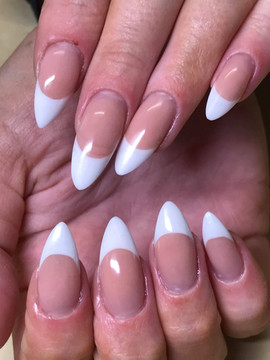 Pink & White French Polygel nails